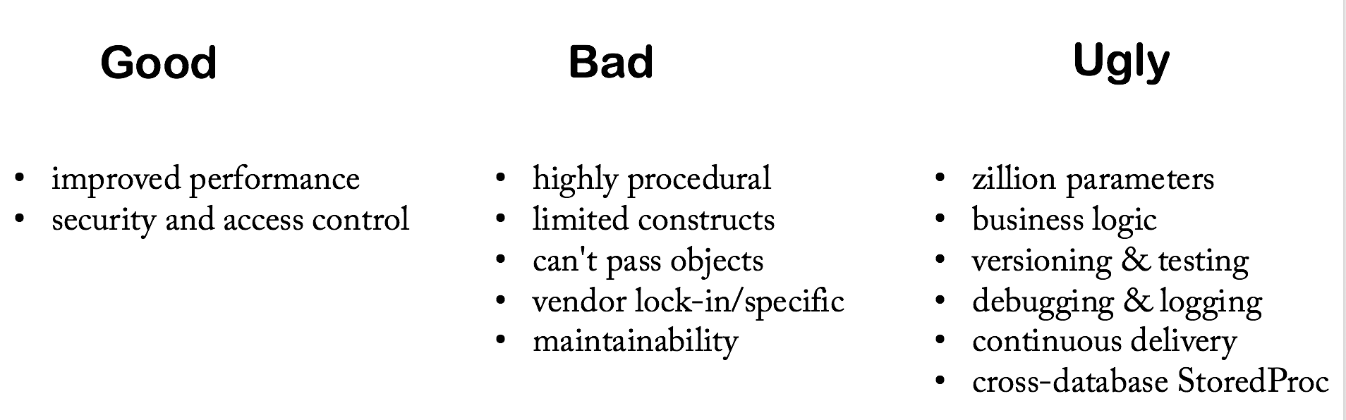 Stored procedure - Good, Bad, and Ugly