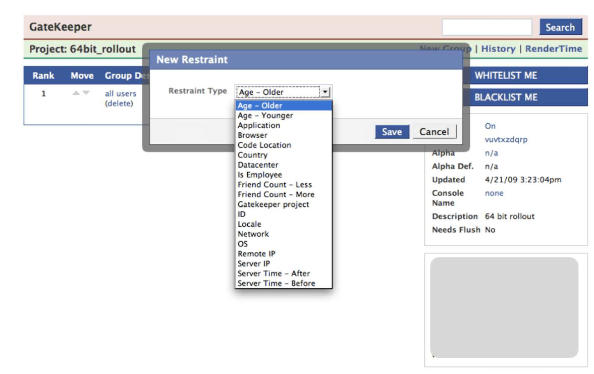 Gatekeeper admin interface to define rule based feature toggles