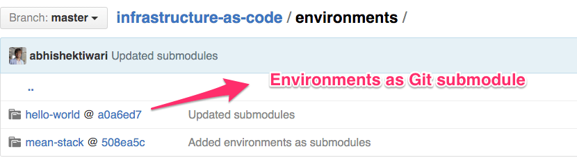 Environments as Git submodules
