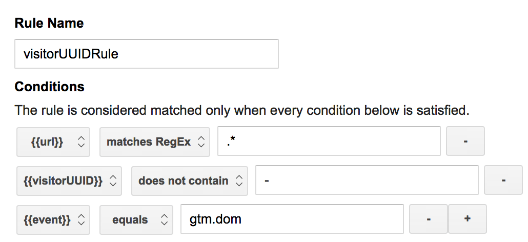 Visitor UUID GTM tag firing rule