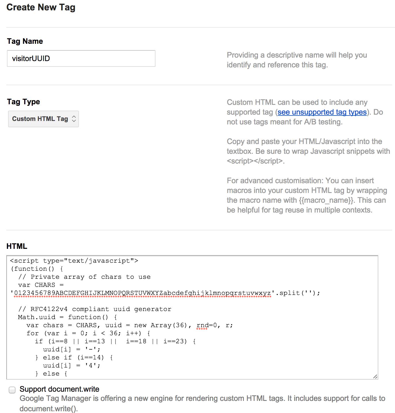 RFC4122v4 compliant Visitor UUID GTM Tag